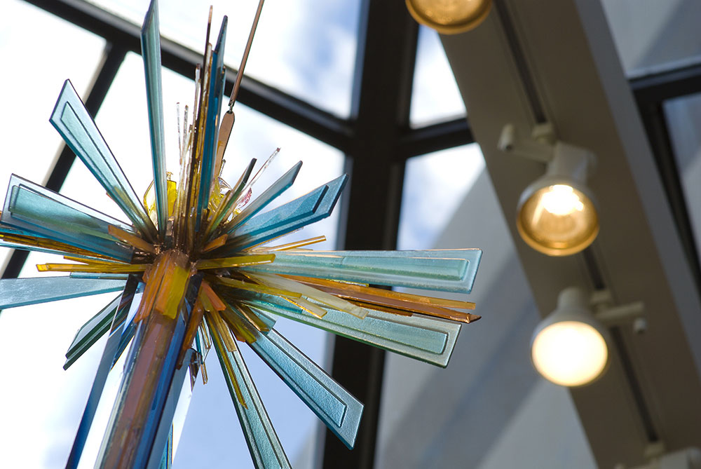 Chapel cross made of colored glass