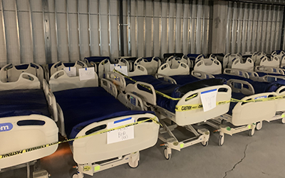 Extra hospital beds stored in the basement of St. Charles Bend's new patient tower.